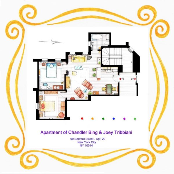 Plan de l'appartement de Friends Chandler Bing Et Joey Tribbiani