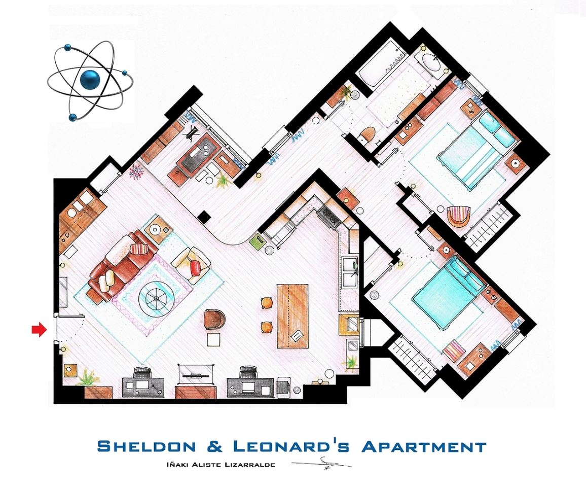 appartement de big band theory Sheldon Leonard