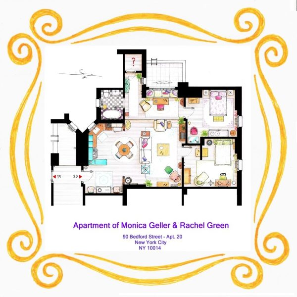 plan appartement de Friends Monicca Geller et rachel Green