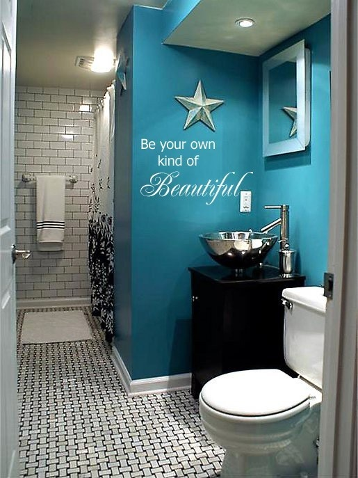 Renover sa salle de bain aux couleurs du bleu sarcelle for Best brand of paint for kitchen cabinets with wall art for kids bathroom