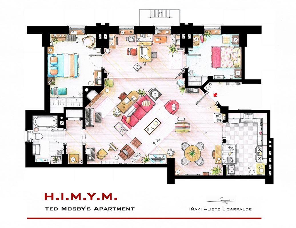 plan de l'appartement de How I Met Your Mother