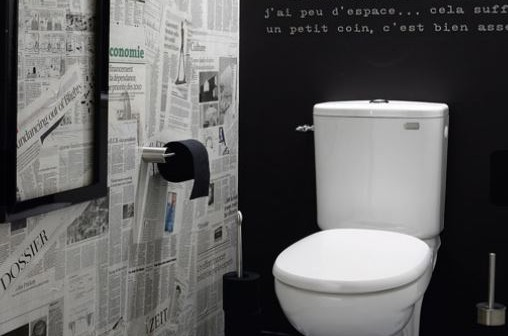personnaliser ses wc d corer une pi ce avec du papier journal. Black Bedroom Furniture Sets. Home Design Ideas