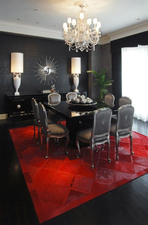 Se faire une salle manger baroque for Black and blue wallpaper for living room
